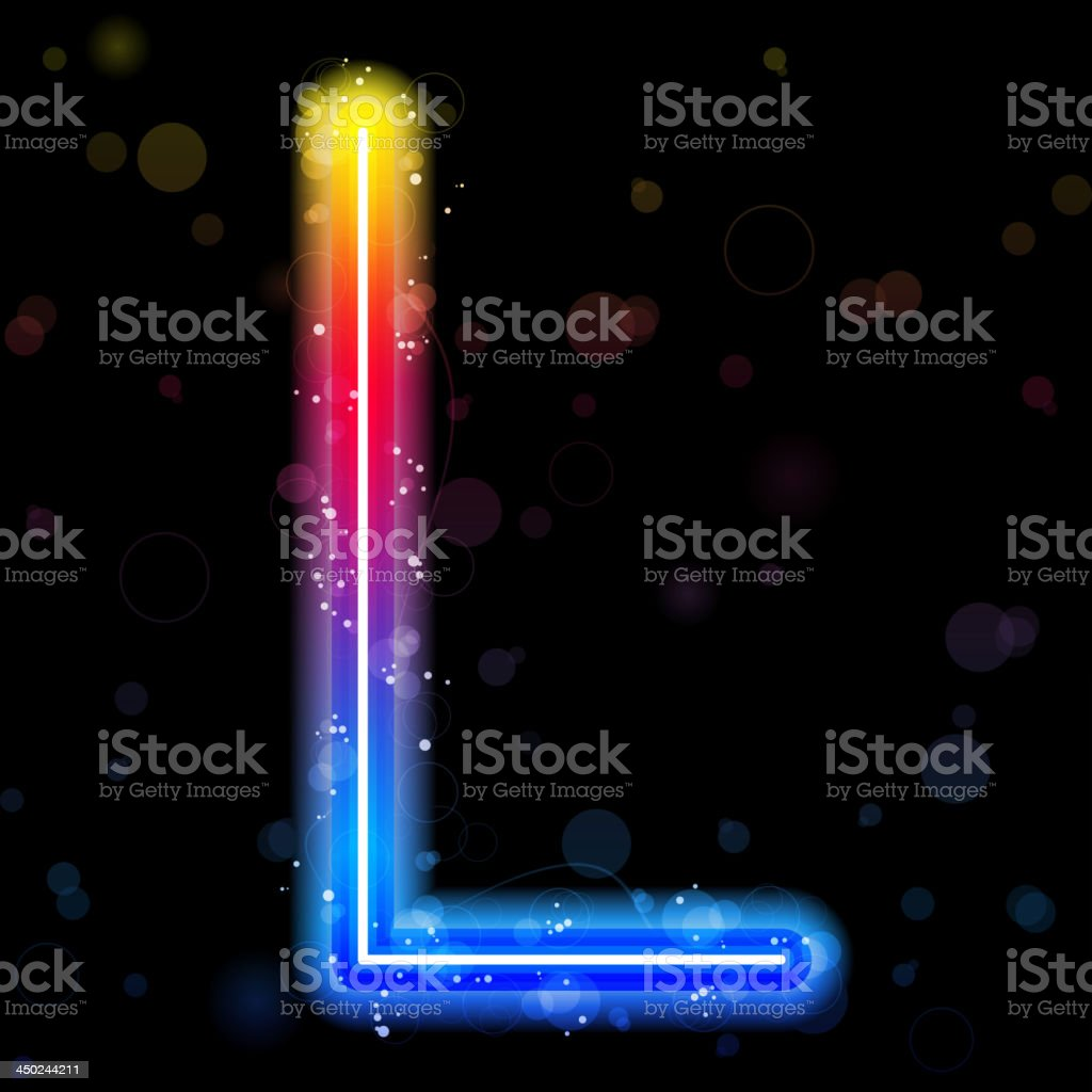 Stock image of a rainbow neon sparkle letter L royalty-free stock vector art