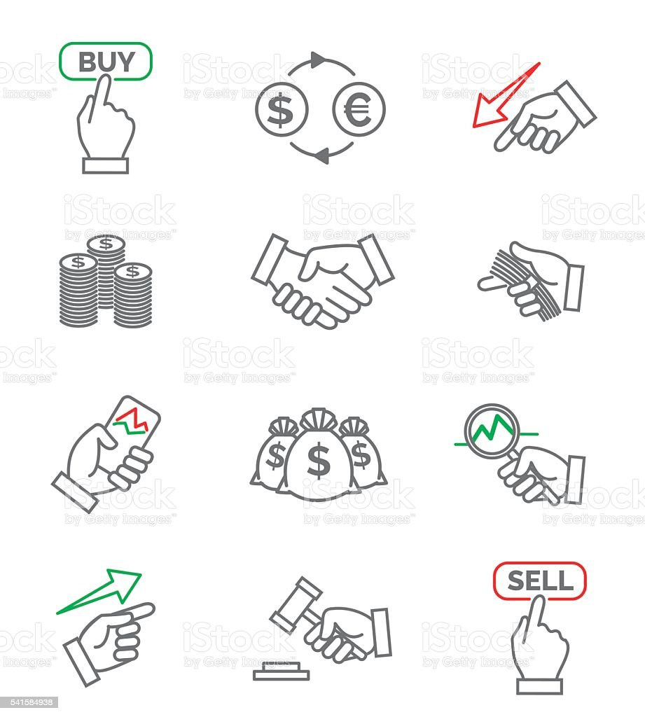 Stock line icons vector art illustration