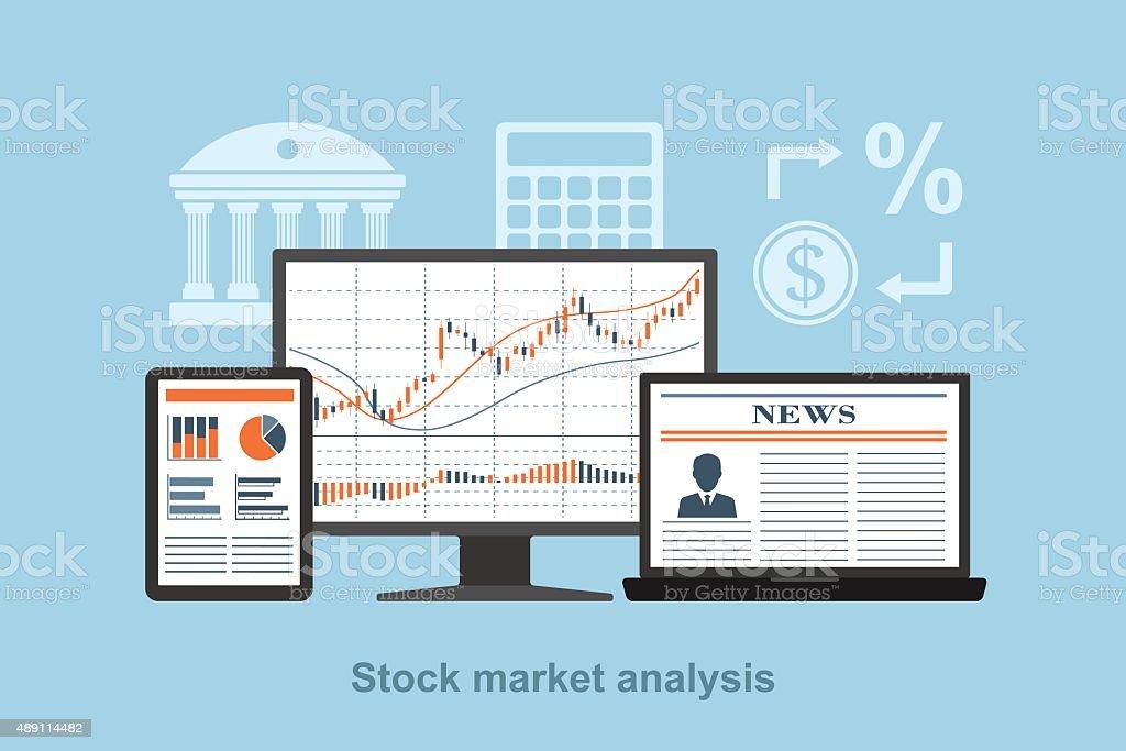 stock market analysis vector art illustration