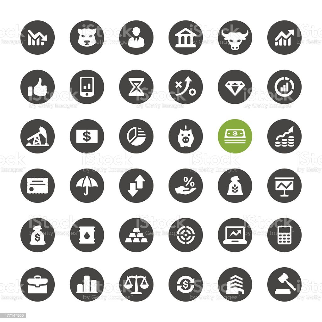 Stock Market and Finance vector icons vector art illustration