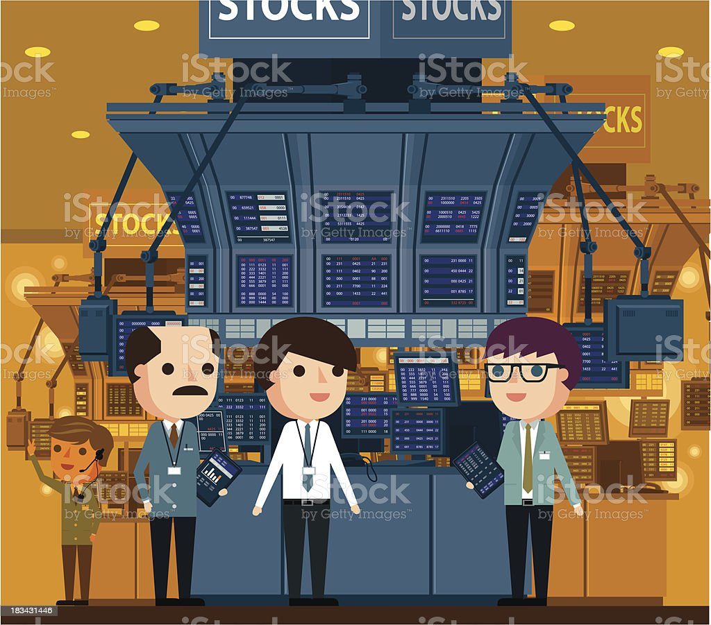 Stock Market and Traders royalty-free stock vector art