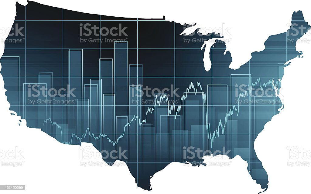 Stock market chart over United States vector art illustration