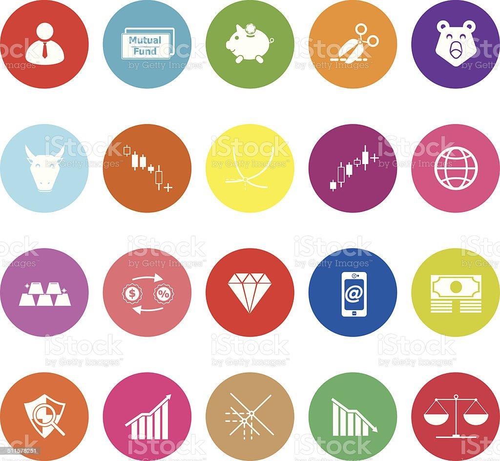 Stock market flat icons on white background vector art illustration