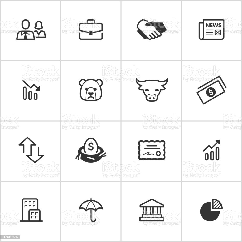 Stock Market Icons — Inky Series vector art illustration