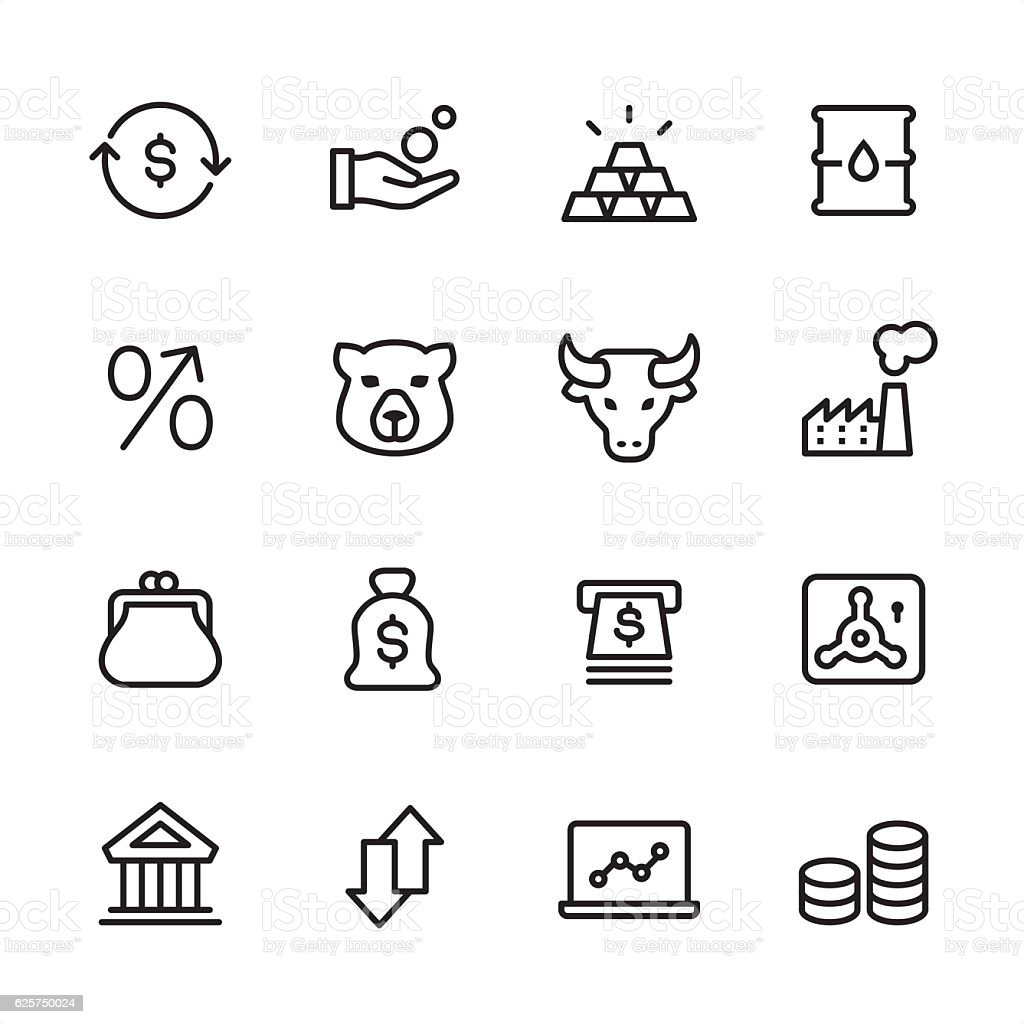 Stock Market - outline style vector icons vector art illustration