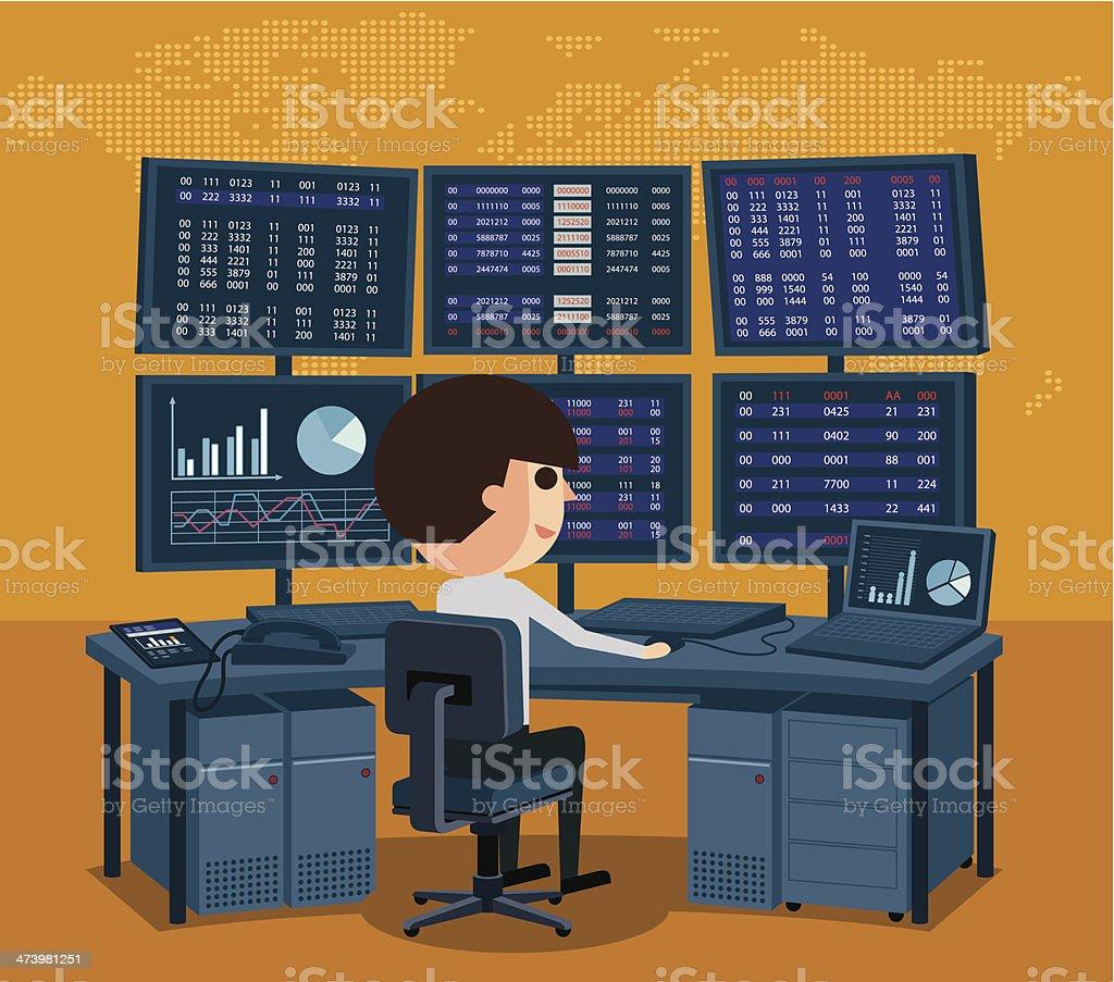 Stock Market Trader vector art illustration