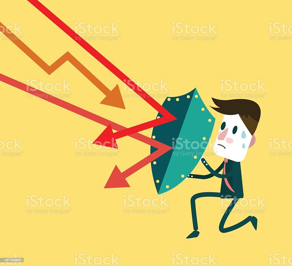 Stock market trading down to attack businessman. vector art illustration