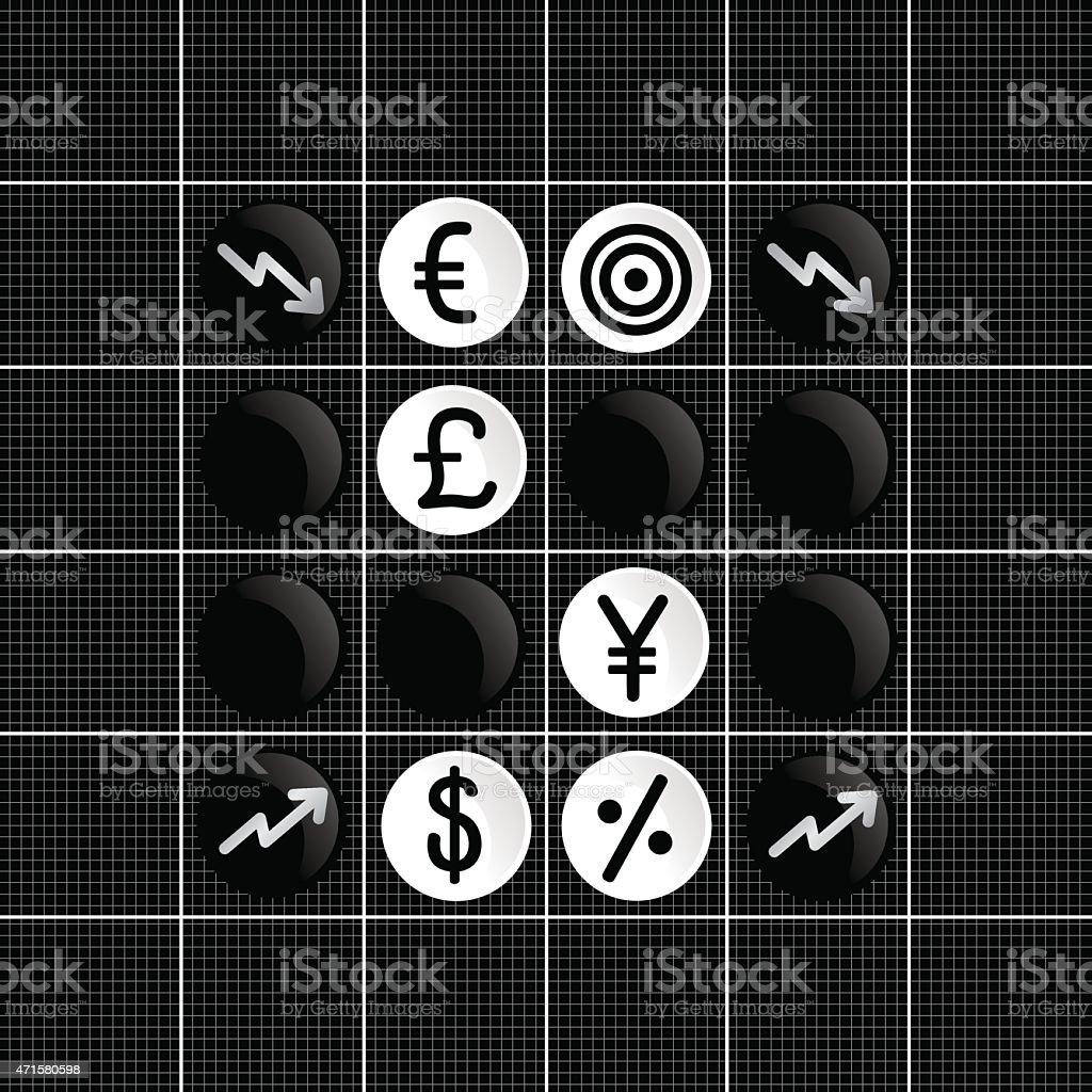 Stock markets trade set iconin  othello game vector art illustration