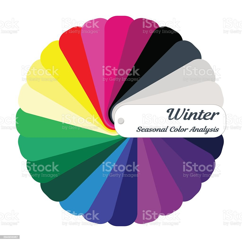 Stock vector color guide. Seasonal color analysis palette for winter type vector art illustration