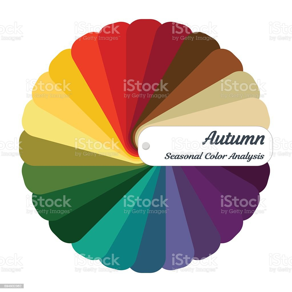 Stock vector color guide.Seasonal color analysis palette for autumn type vector art illustration