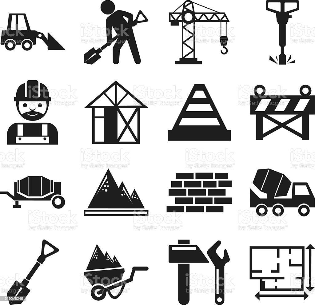 Stock vector construction pictogram simple black icon set vector art illustration