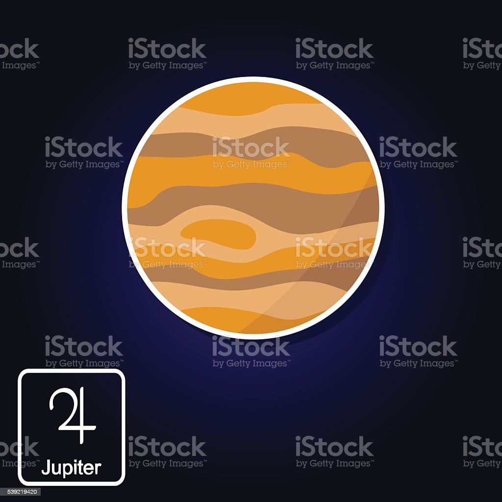 Stock vector icons with Jupiter and astrology symbol of planet vector art illustration