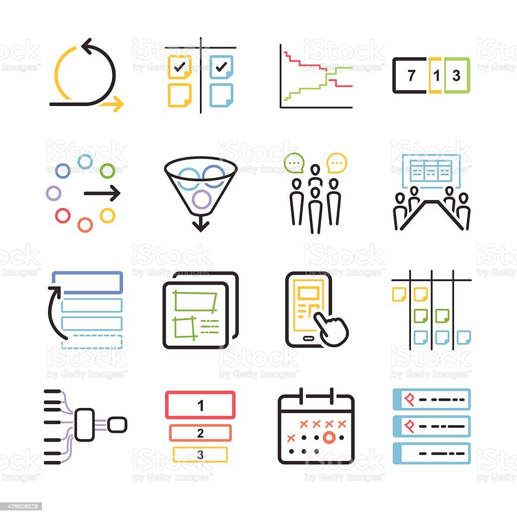 Stock Vector Illustration: Agile icon set vector art illustration