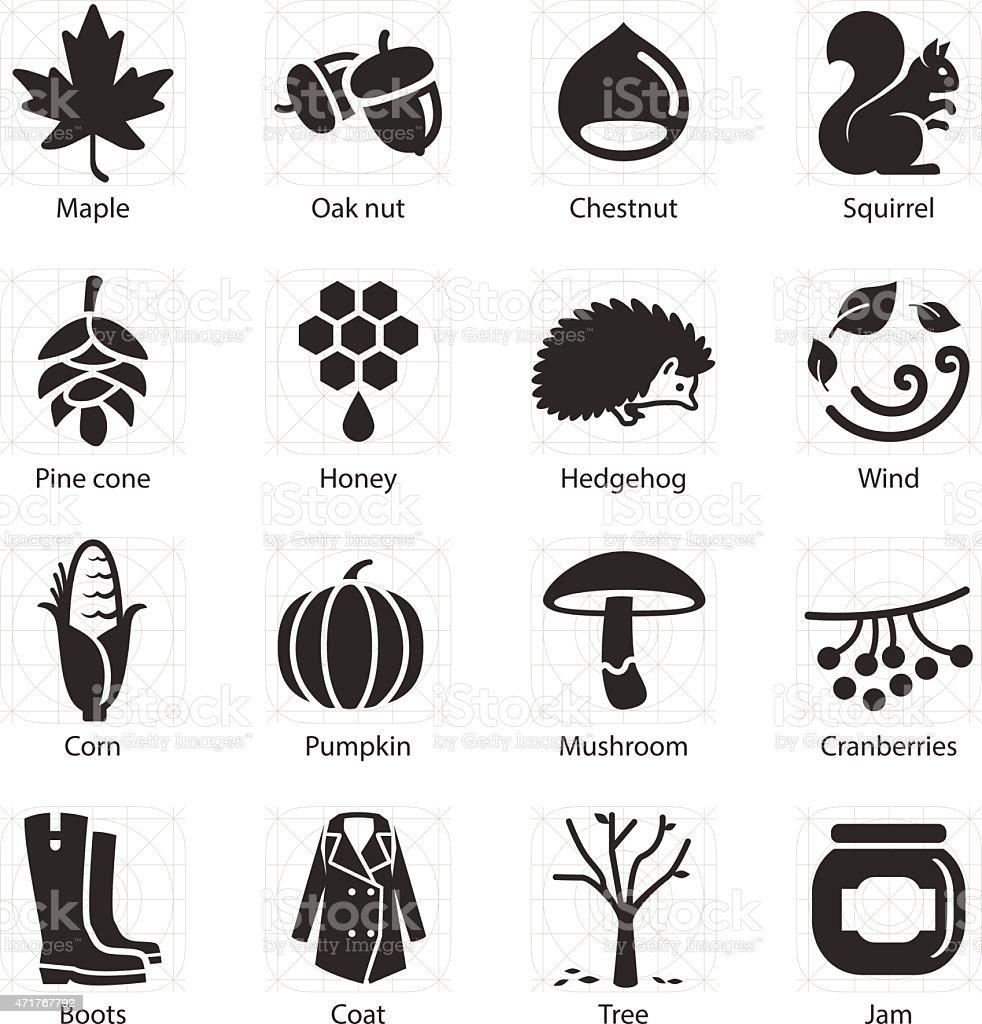 Stock Vector Illustration: Autumn icons vector art illustration