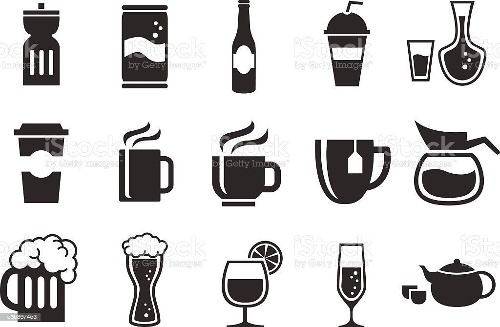 Stock Vector Illustration: Drink icons vector art illustration
