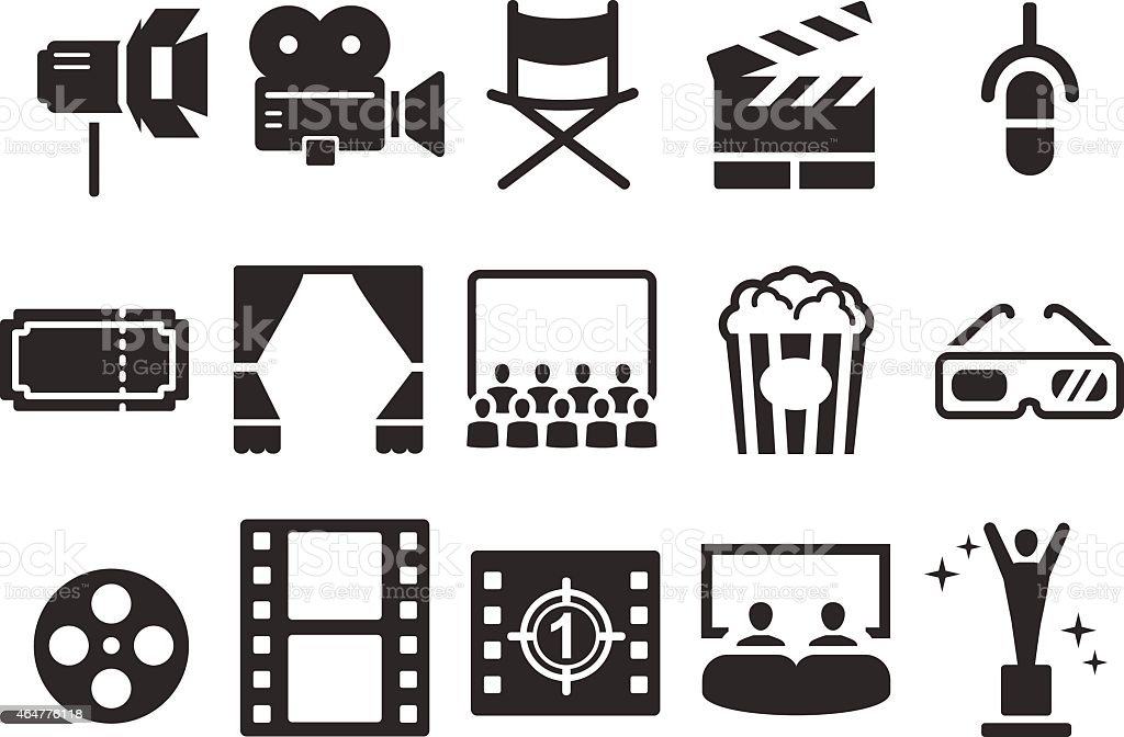 Stock Vector Illustration: Movies icons vector art illustration