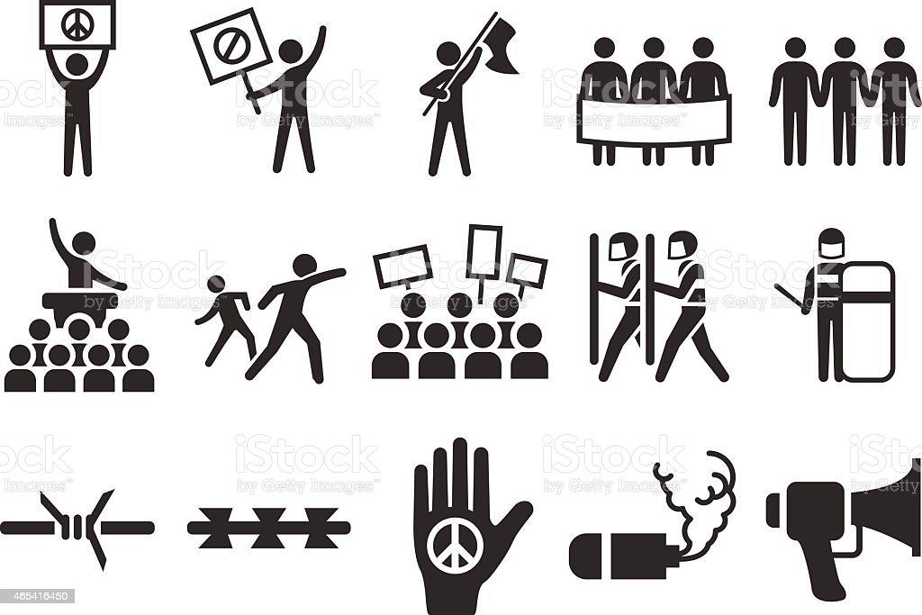 Stock Vector Illustration: Protest icons vector art illustration