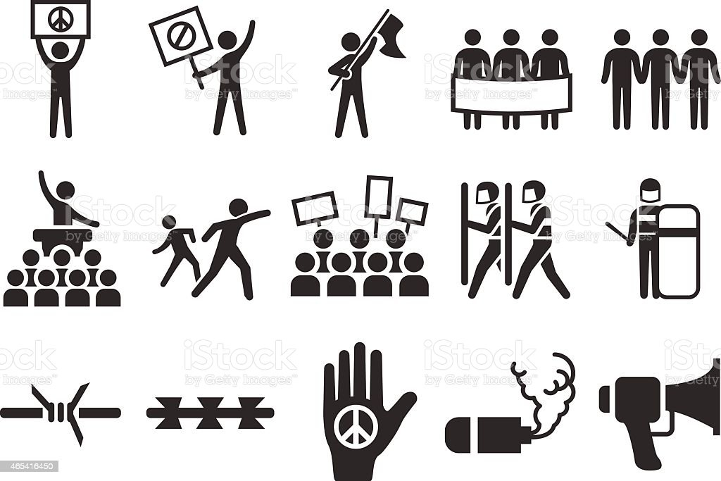 Stock Vector Illustration: Protest icons vector art illustration