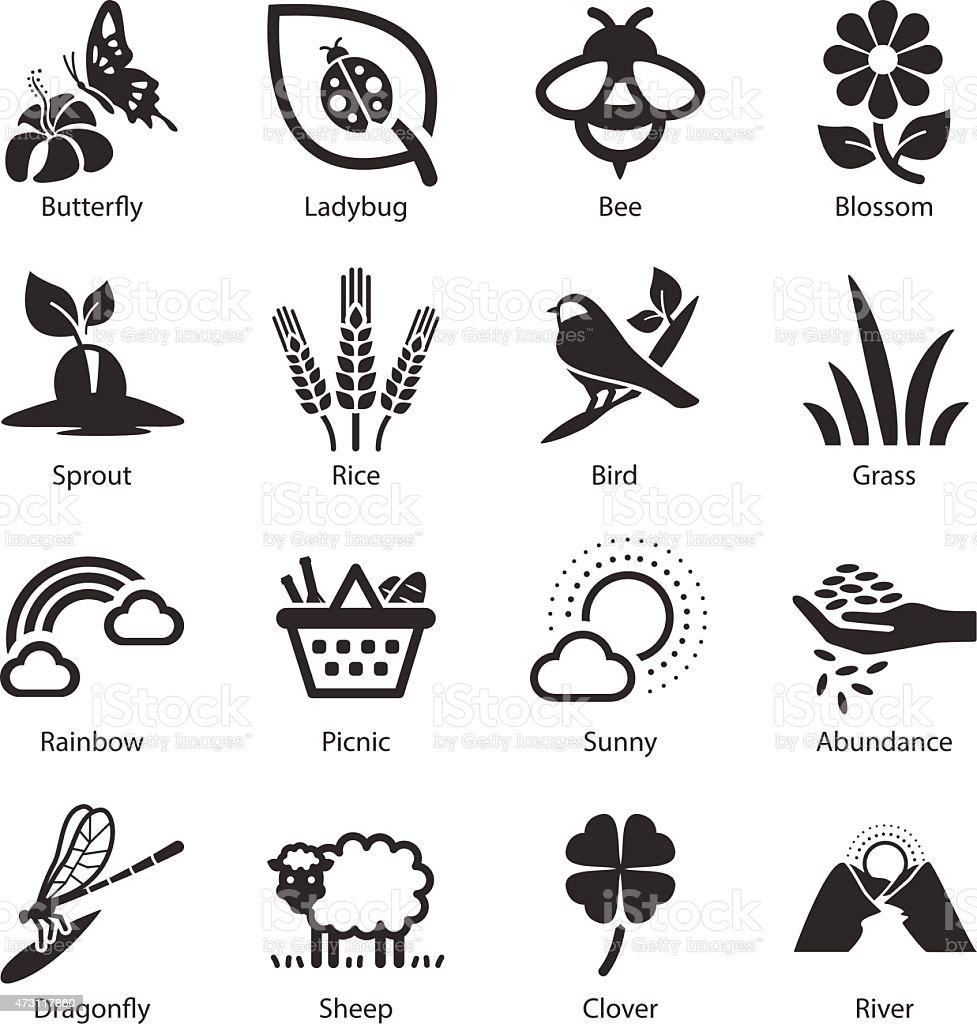 Stock Vector Illustration: Spring icons vector art illustration
