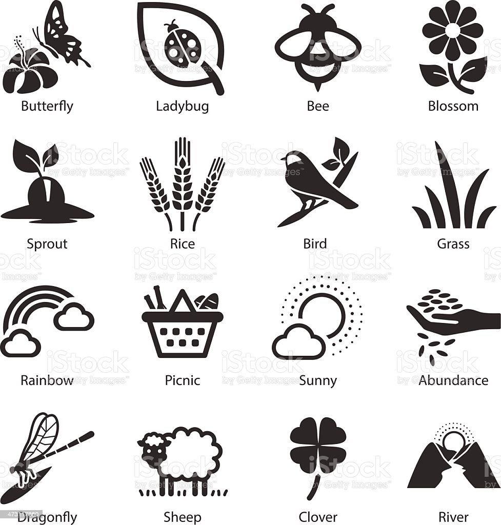Stock Vector Illustration: Spring icons vector art illustration