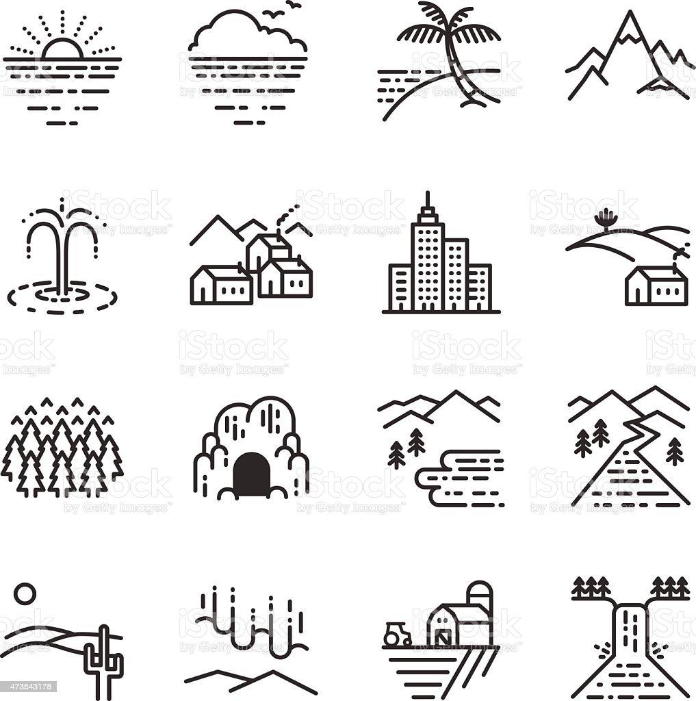Stock Vector Illustration: Travel locations line icon vector art illustration