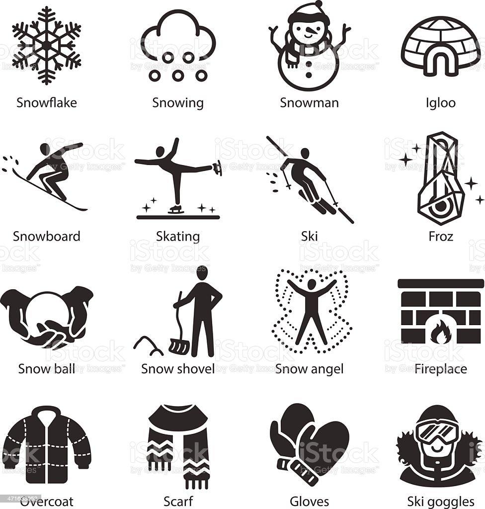 Stock Vector Illustration: Winter icons set vector art illustration
