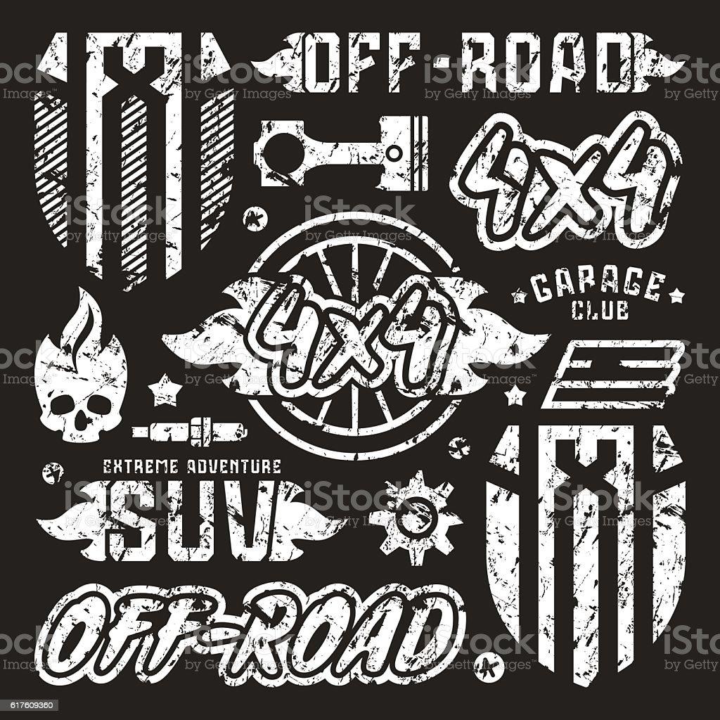 Stock vector set of off-road car badges vector art illustration