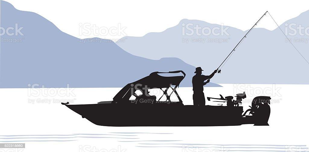 Stocked Lake And Fishing Boat vector art illustration