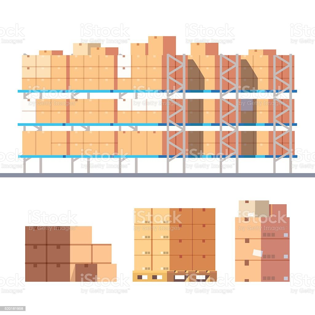 Stocked warehouse shelves and cardboard boxes vector art illustration