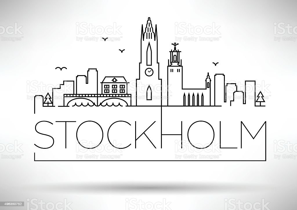 Stockholm City Line Silhouette Typographic Design vector art illustration