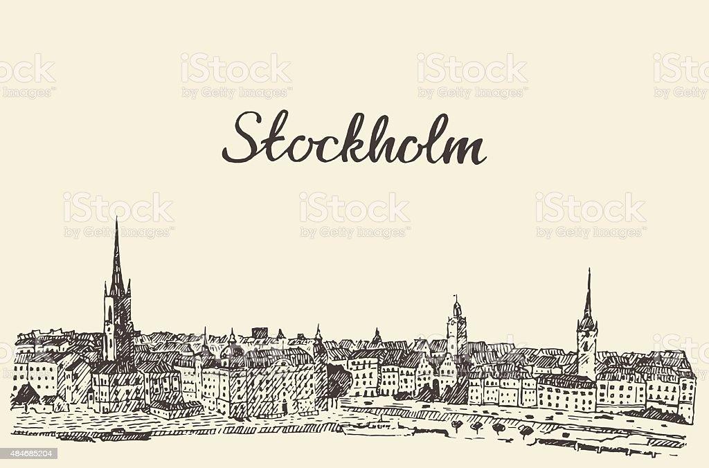 Stockholm skyline vector engraved drawn sketch vector art illustration