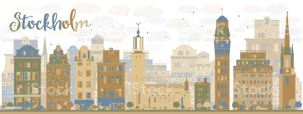 Stockholm Skyline with Bown and blue Buildings vector art illustration
