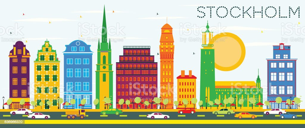 Stockholm Skyline with Color Buildings and Blue Sky. vector art illustration