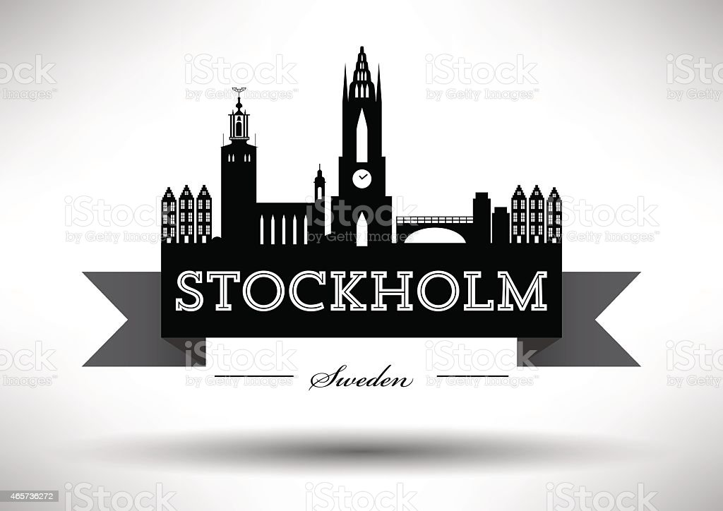 Stockholm Skyline with Typographic Design vector art illustration