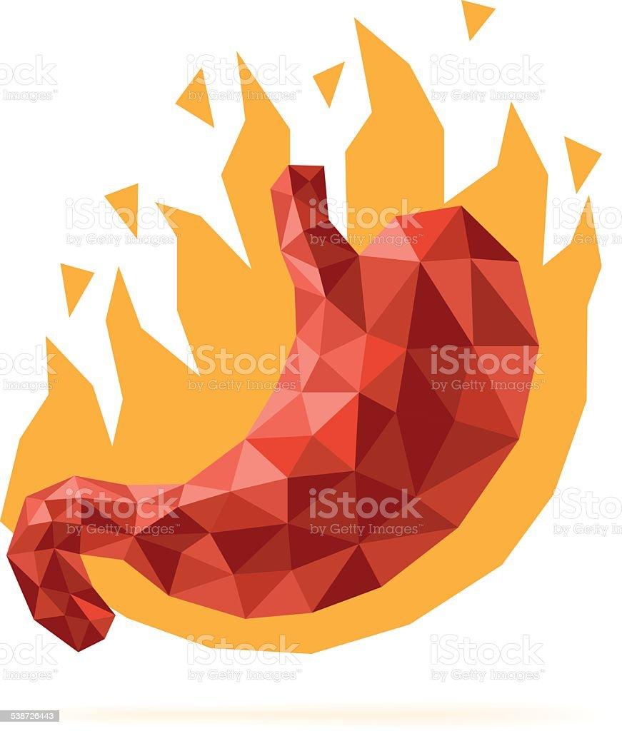 Stomach heartburn vector art illustration