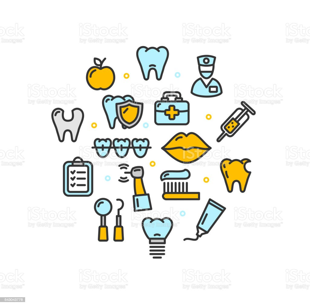Stomatology Round Design Template Thin Line Icon. Vector vector art illustration