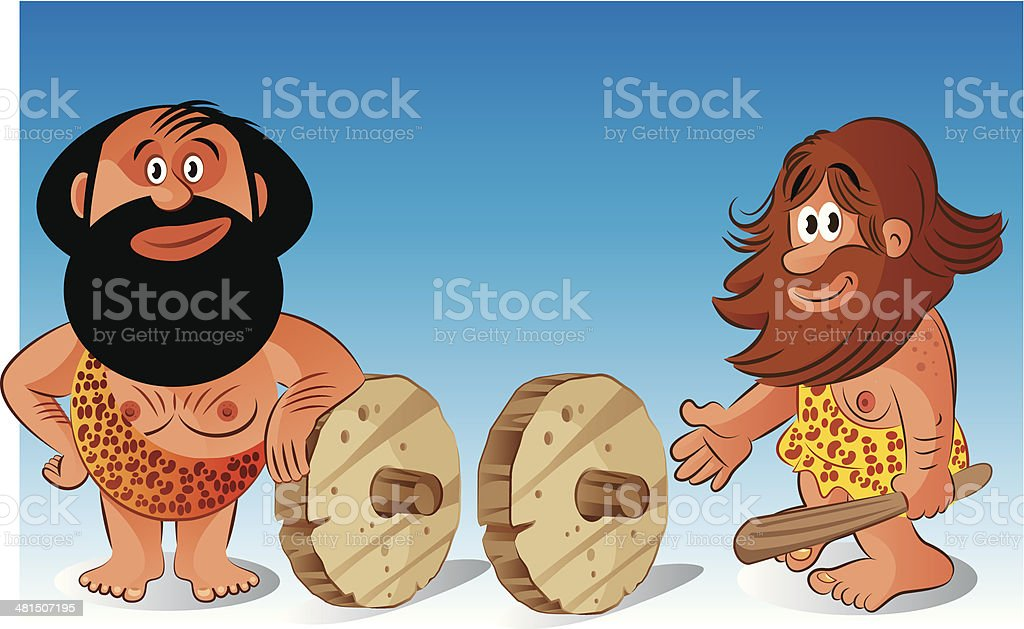 Stone age and the wheel royalty-free stock vector art