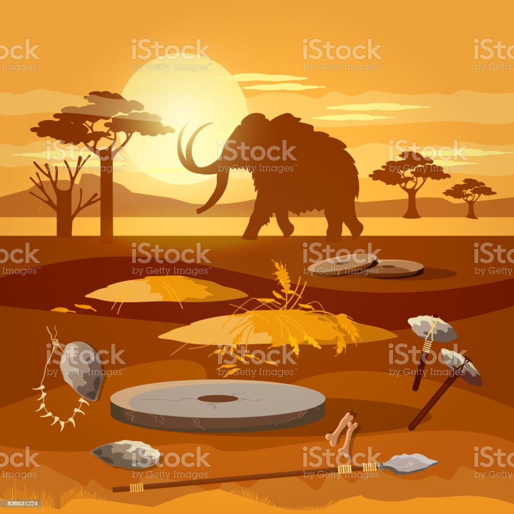 Stone age. Hunting for mammoth, prehistoric tool. Neolithic, paleolith, mesolith, beginning of a civilization. Caveman art vector art illustration