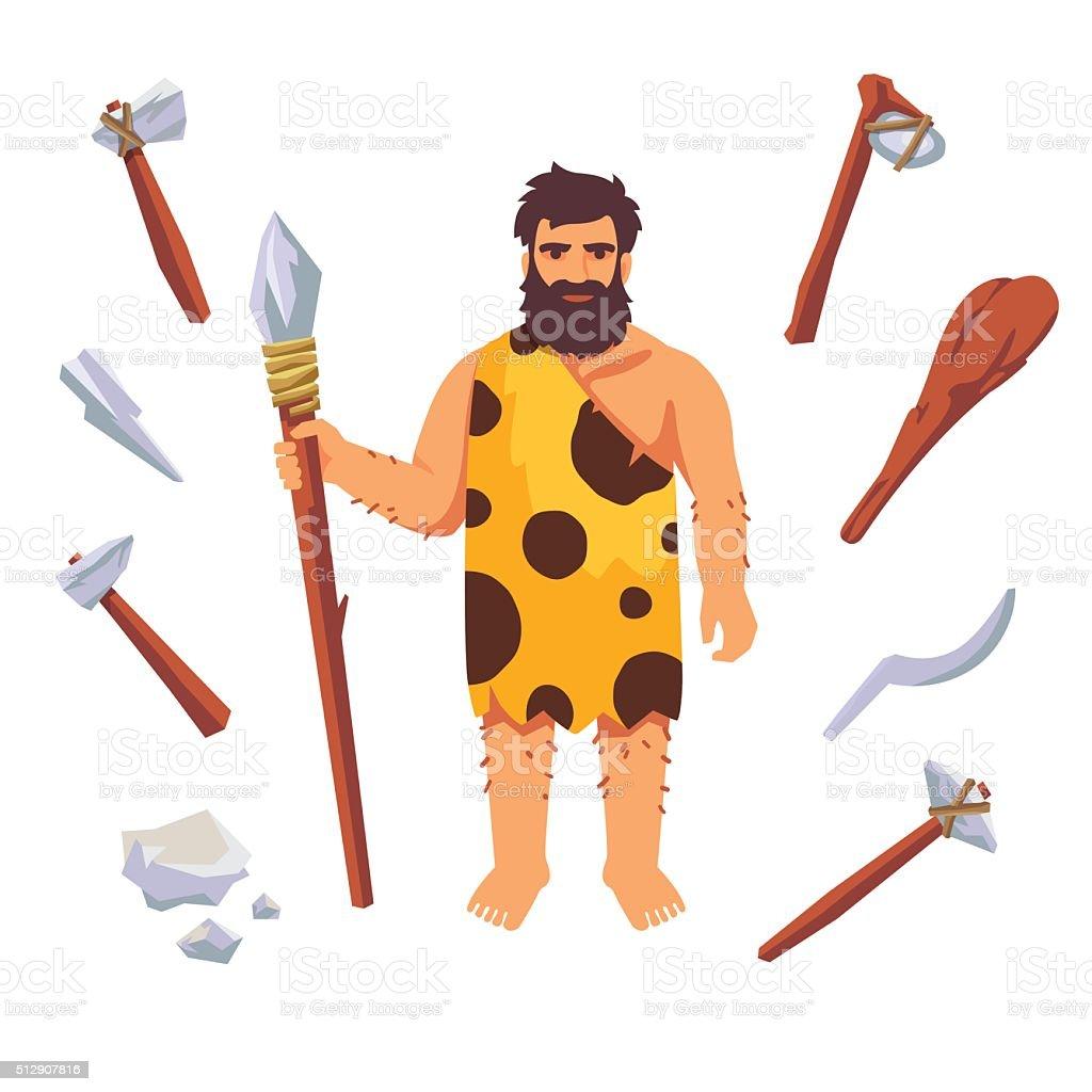 Stone age primitive man vector art illustration