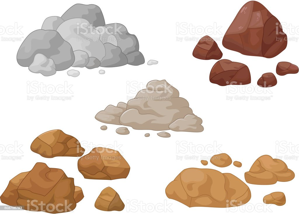 Stone and rock cartoon collection vector art illustration