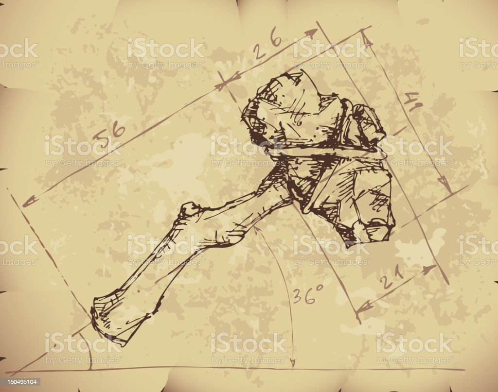Stone axe draft vector art illustration