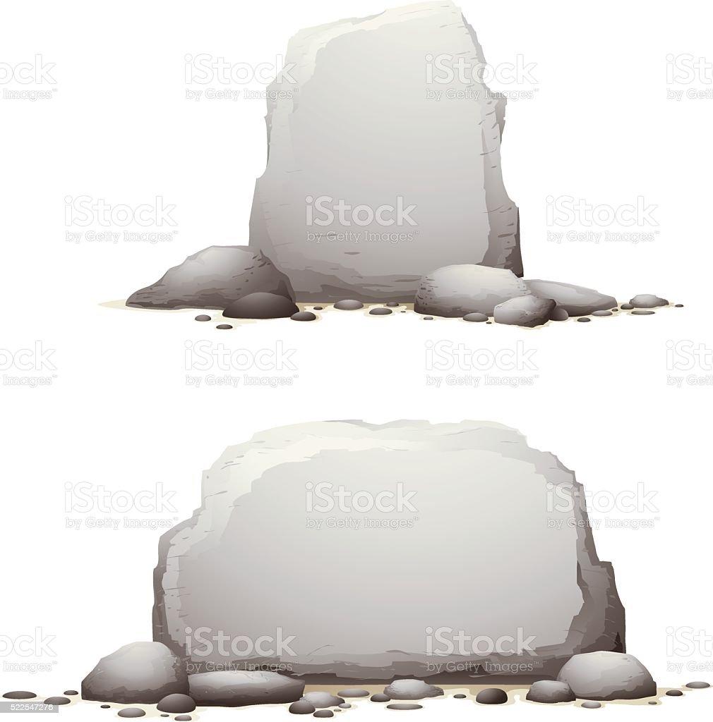 stone banners vector art illustration