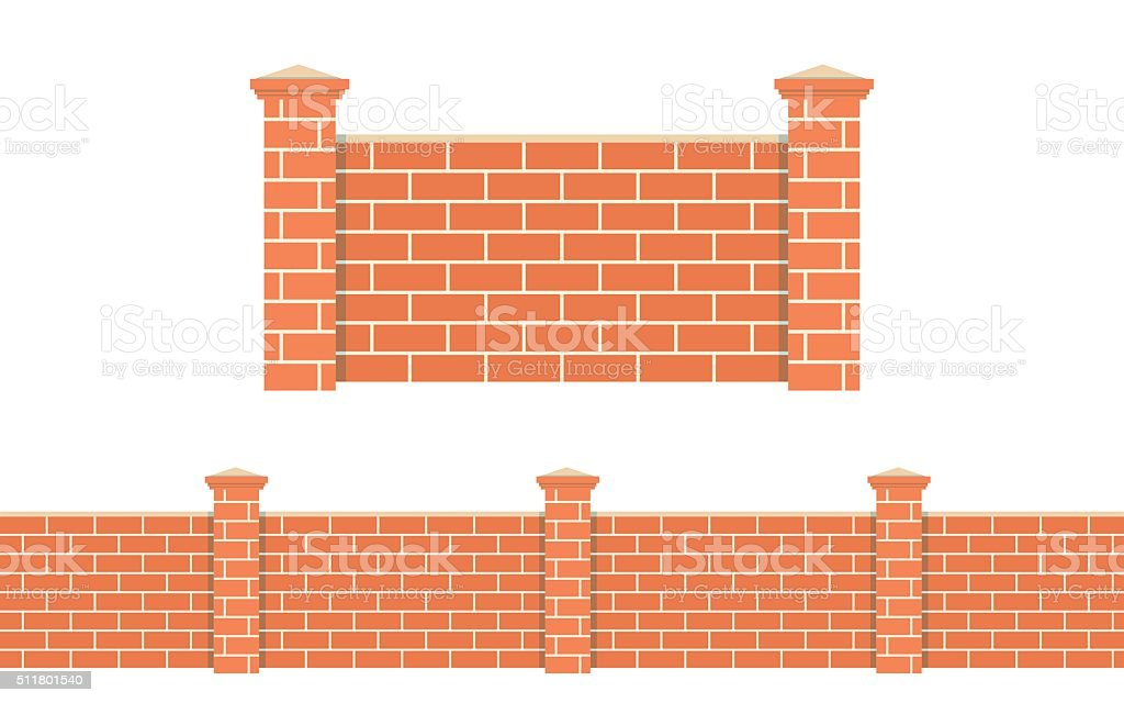 Stone bricks fence isolated white background. vector art illustration
