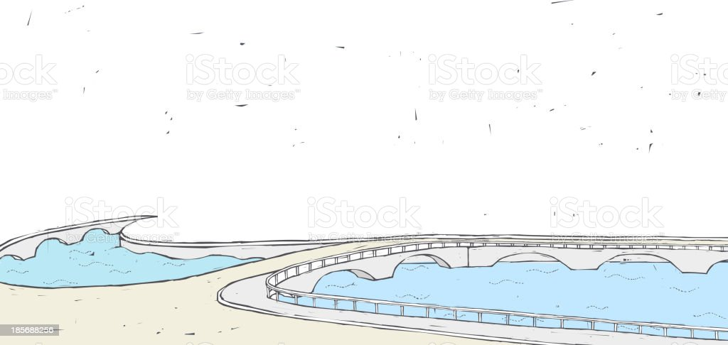 stone bridge over river vector art illustration