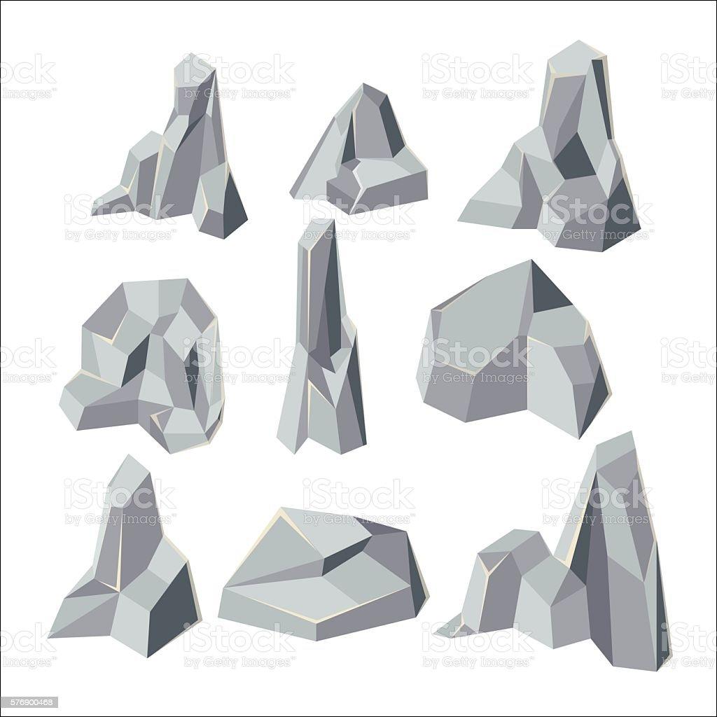 Stone Cartoon Element Isolate Set Vector vector art illustration