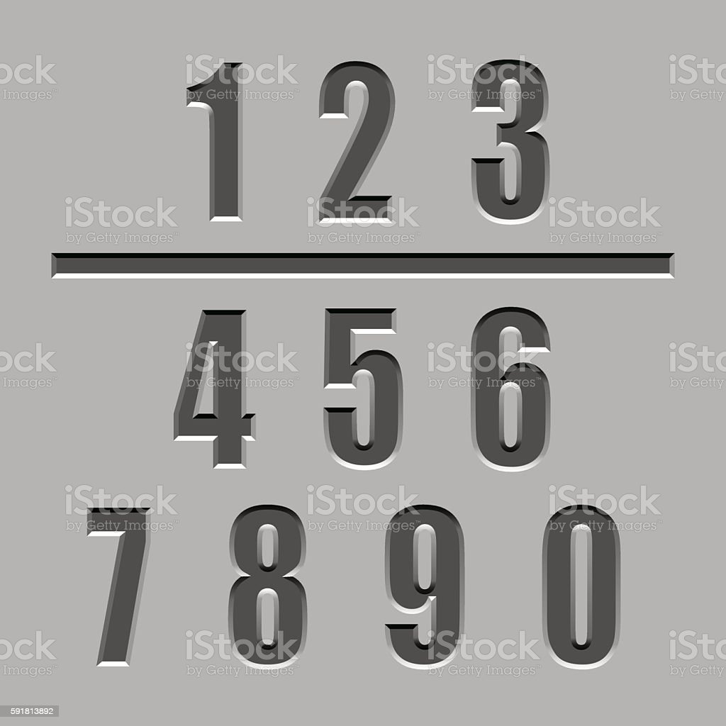 stone carved numbers font vector art illustration