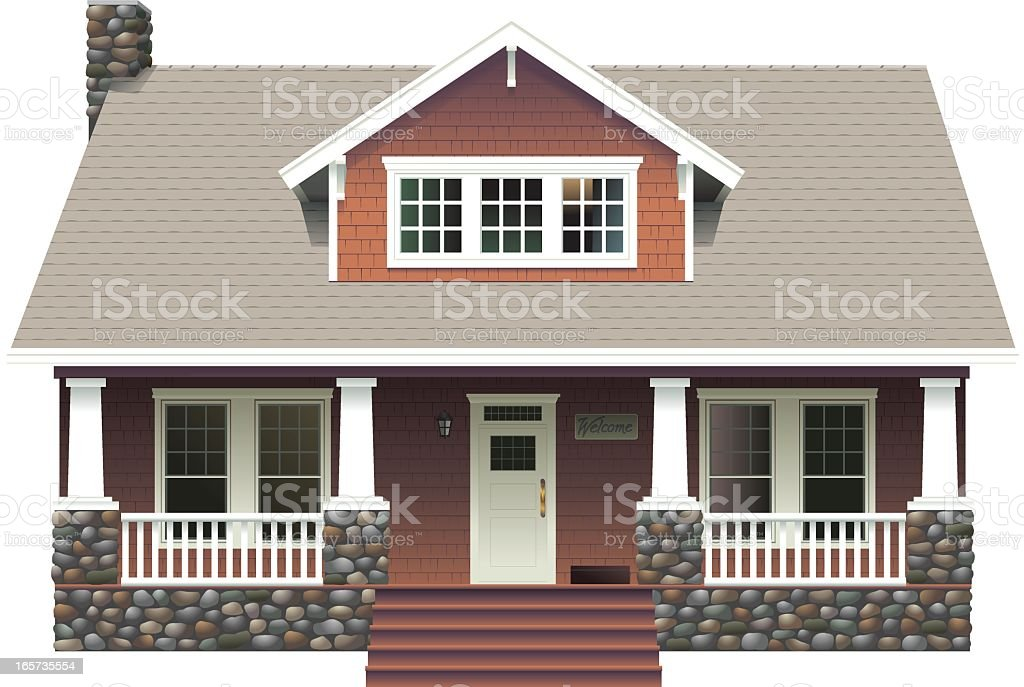 Stone Country House vector art illustration