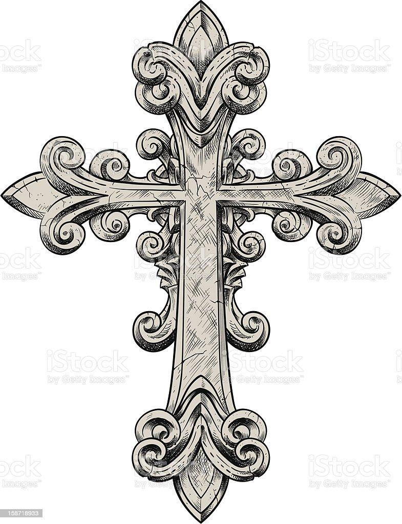 Stone Cross vector art illustration