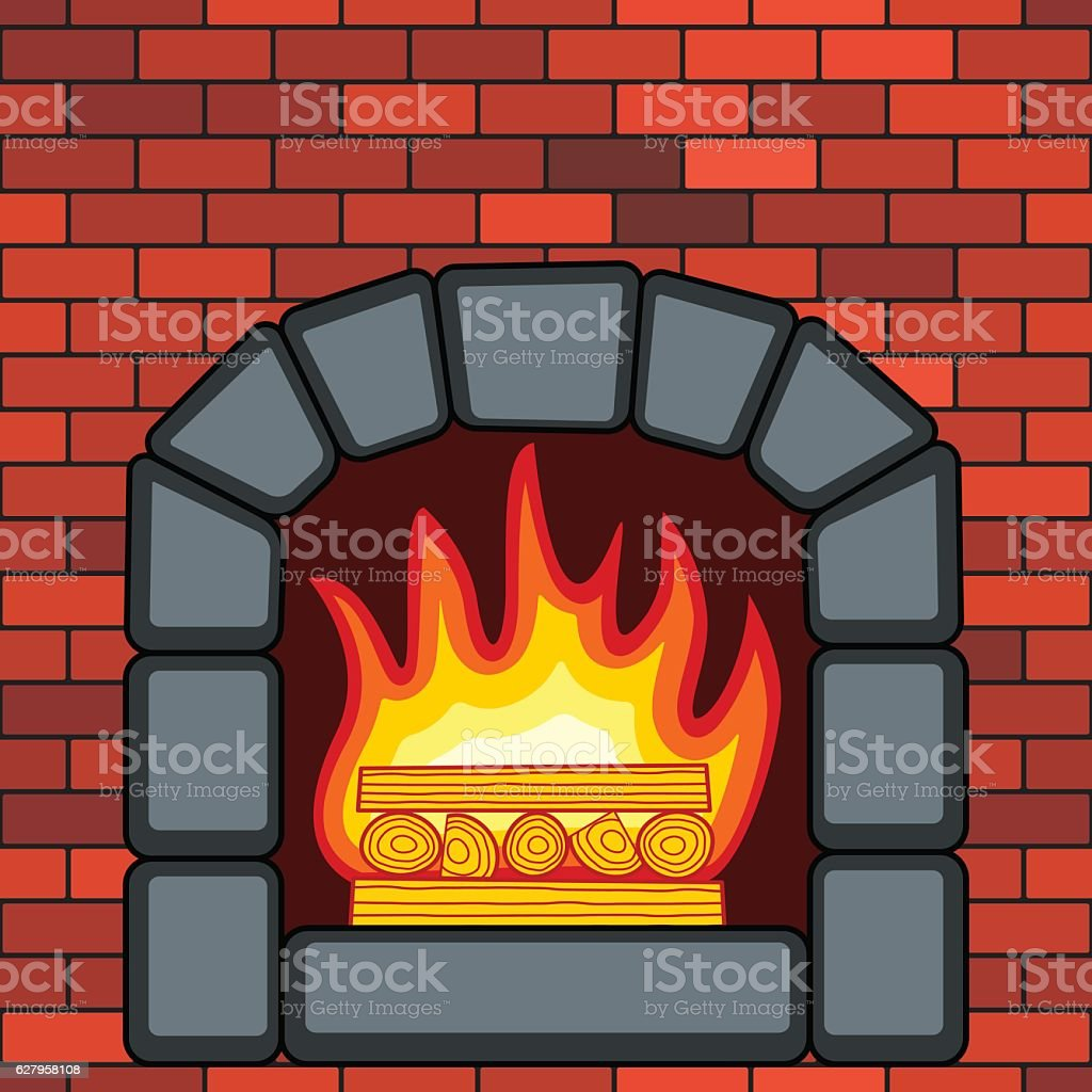 Stone fireplace in brick wall vector art illustration