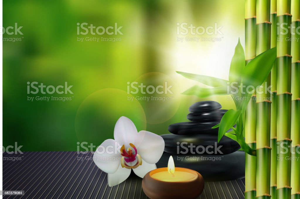 Stone, flower, wax and bamboo on the table background vector art illustration